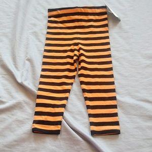 Bonnie baby black orange striped leggings size 18m